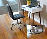 """Premium Pick - Exclusive Beveled Edge 1"""" Thick Clear Tempered Glass Chair Mat"""
