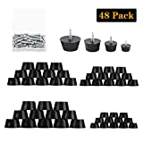 48PCS 4 Size Anti Scratch Screw-on Round Black Rubber Feet...