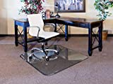 """New Arrival - Exclusive Beveled Edge 1"""" Thick Clear Tempered Glass Chair Mat"""