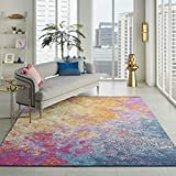 Nourison  Passion Modern Abstract Colorful Sunburst Area Rug, 8'...