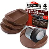 Furniture Cups - Bed Stoppers 4 PCS - X-PROTECTOR Premium Rubber...