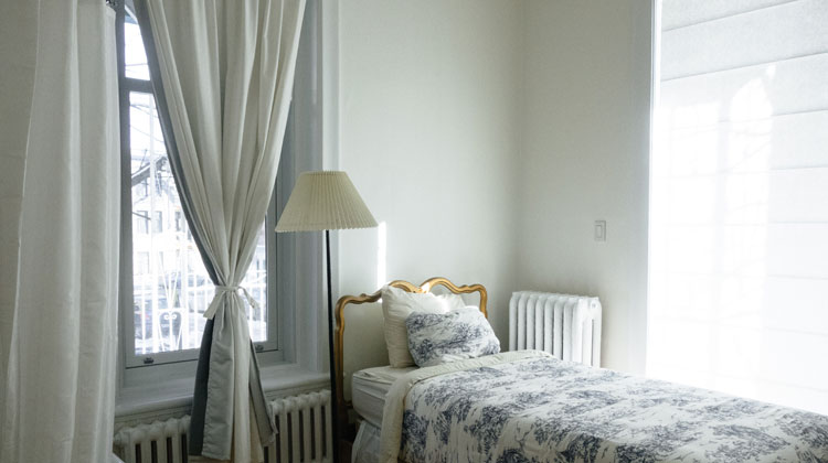 White and Blue Floral Comforter