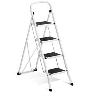 Delxo Folding 4 Step Ladder - Heavy duty nonslip ladder