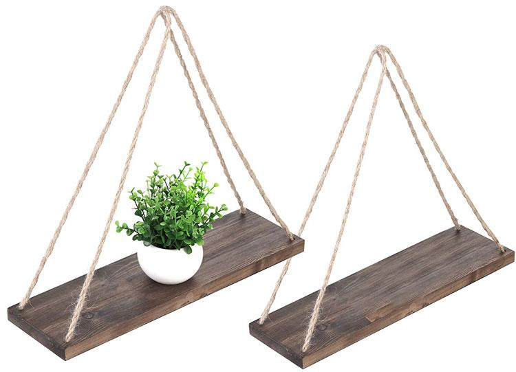 MyGift 17-Inch Distressed Wood Hanging Swing Rope Floating Shelves