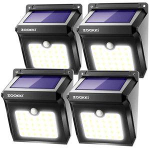 ZOOKKI Solar Lights- Wireless Motion Sensor, Wall Mount Security Lights for Outdoor