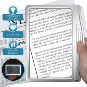 MagniPros LED Page Magnifier -Best reading lamp for low vision eyes & Seniors