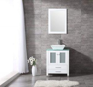 "BATHJOY 24"" Glass Top Wood Vanity - Top quality bathroom vanities"