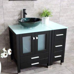 "Walcut 36"" - Glass Top Bathroom Vanity with Sink"
