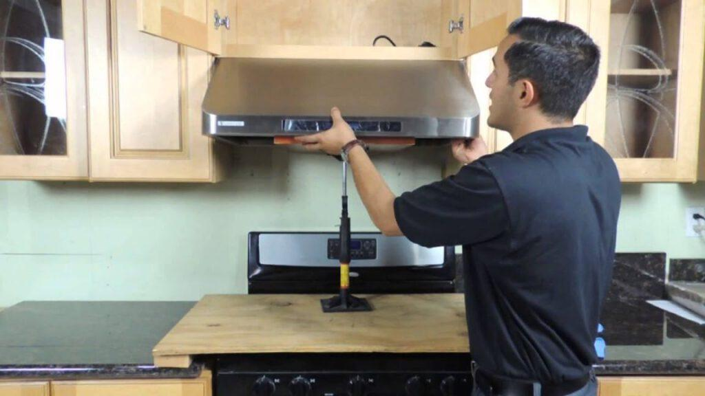 how to install a range hood under cabinet