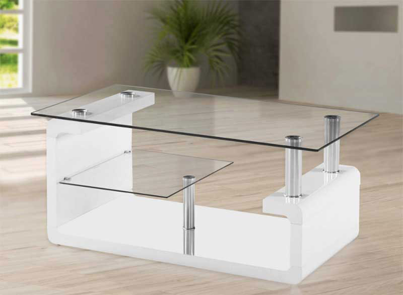 White Table & Tempered Glass Tabletop in Patio Area
